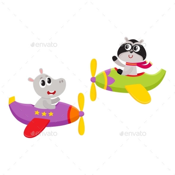 Animal Pilot Characters Flying on Airplane - Animals Characters