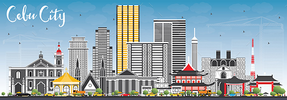 Cebu City Philippines Skyline with Gray Buildings and Blue Sky. - Buildings Objects