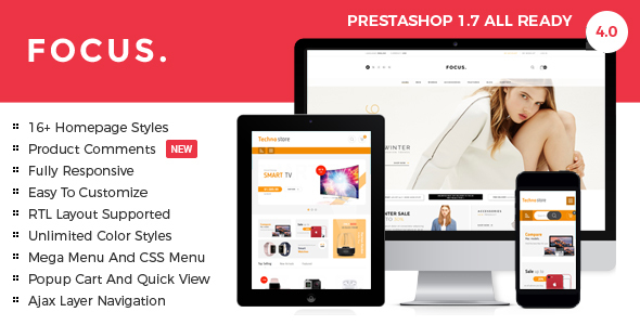 Focus - Advanced Multipurpose Responsive Prestashop 1.6 & 1.7 Theme | 16+ Homepages