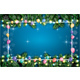 Christmas Greeting Card with Balloons, White Frame, Neon Garland and Fir Branches.