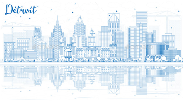 GraphicRiver Outline Detroit Skyline with Blue Buildings and Reflections 20516088