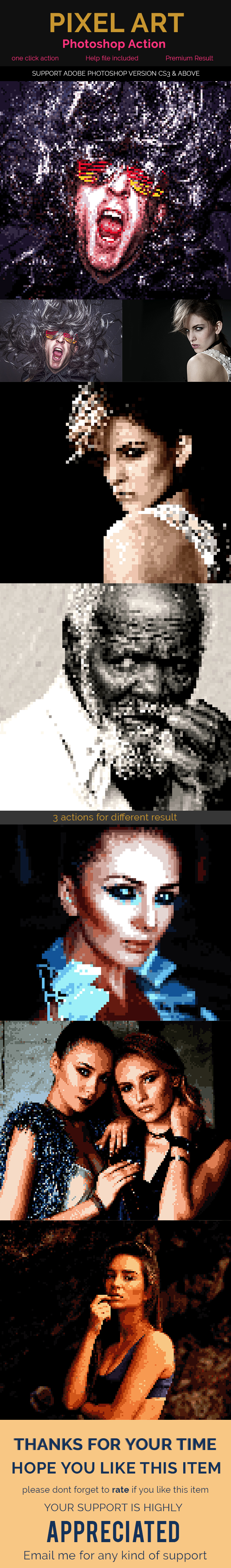 Pixel Art Pro - Photoshop Action - Photo Effects Actions