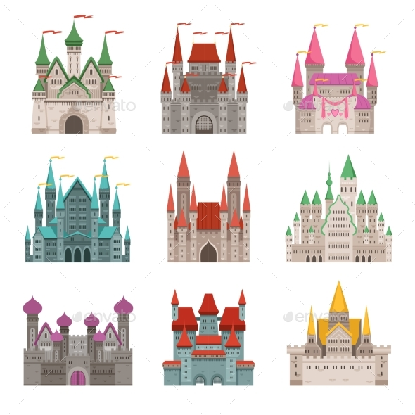Fairytale Old Medieval Castles or Palaces - Buildings Objects