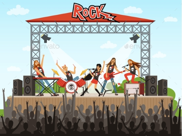 Rock Band on Stage. People on Concert. Music - People Characters