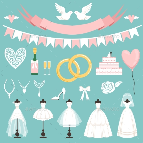 GraphicRiver Wedding Symbols in Cartoon Style Cake Flowers 20516491