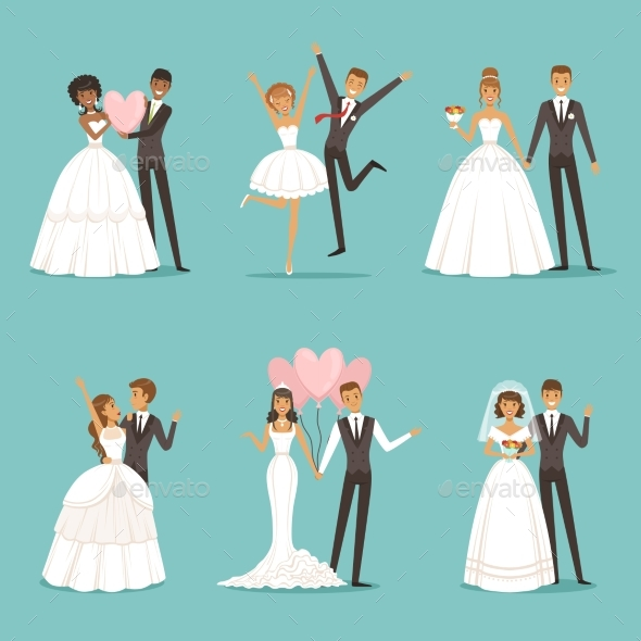 GraphicRiver Married Couple Characters Set Wedding Mascot 20516496
