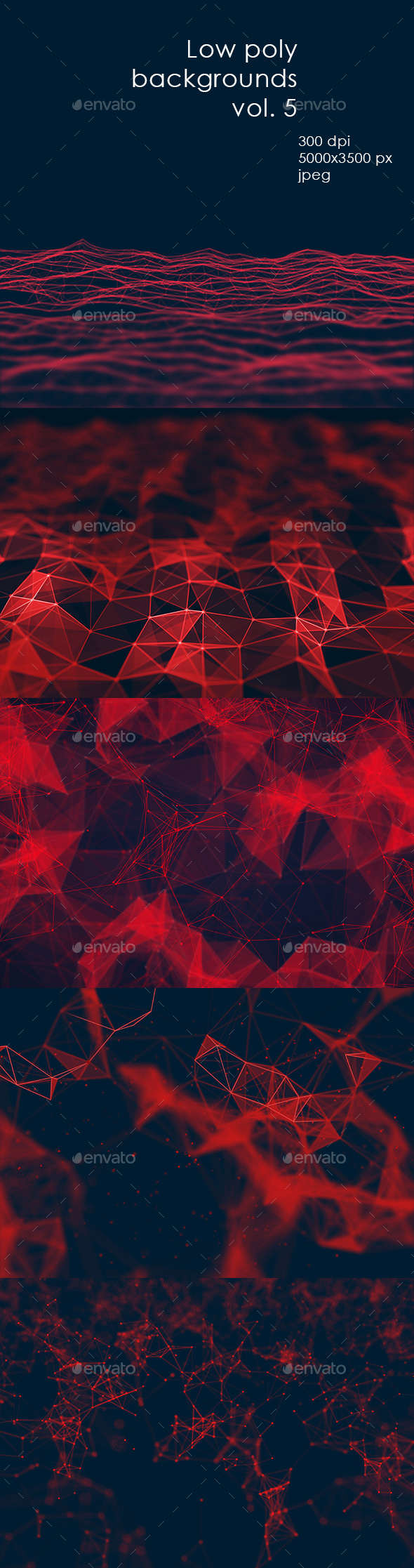 GraphicRiver RED low poly backgrounds vol 5 20516514