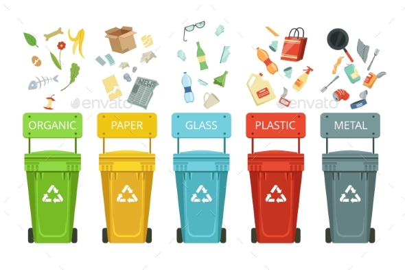 Plastic Containers for Garbage of Different Types - Objects Vectors