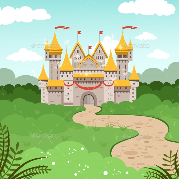 Fantasy Landscape with Fairytale Castle. Vector - Buildings Objects