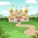 Fantasy Landscape with Fairytale Castle. Vector