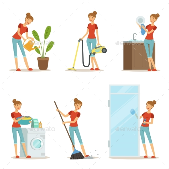 Woman Making Different Housework - People Characters