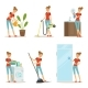 Woman Making Different Housework