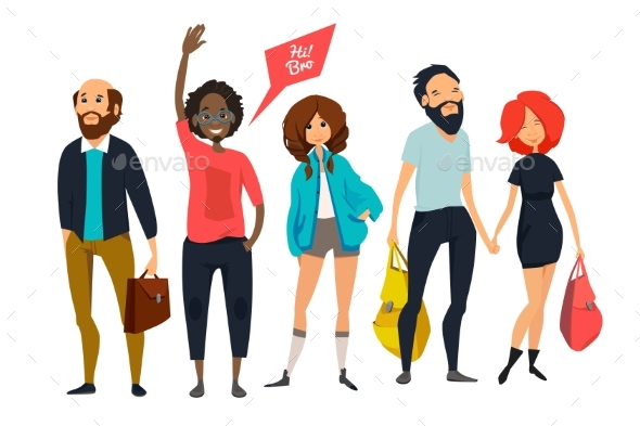 Group of Young Hipsters. Male and Female - People Characters