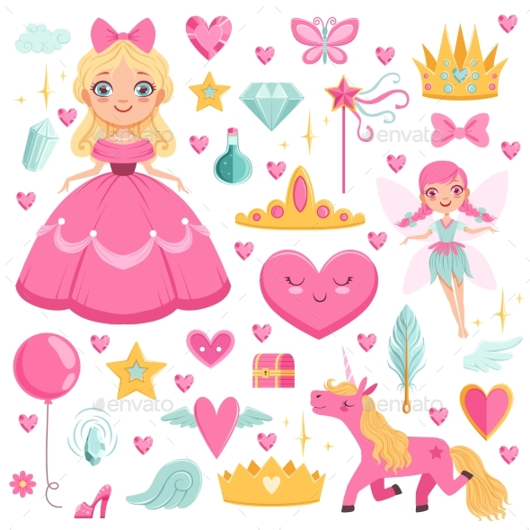 GraphicRiver Princess with Fairytale Unicorn 20516608
