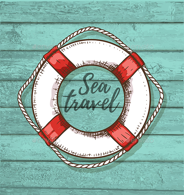 Travel Background with Lifebuoy - Travel Conceptual