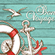 Travel Background with Lifebuoy and Anchor