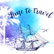 Watercolor Travel Background with Ship