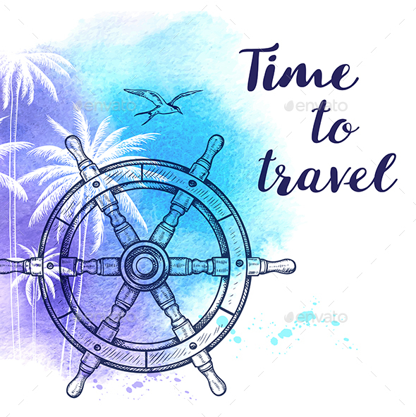 Watercolor Travel Background - Travel Conceptual