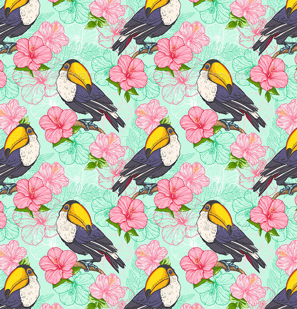 GraphicRiver Seamless Pattern with Toucan and Flowers 20516672