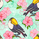 Seamless Pattern with Toucan and Flowers