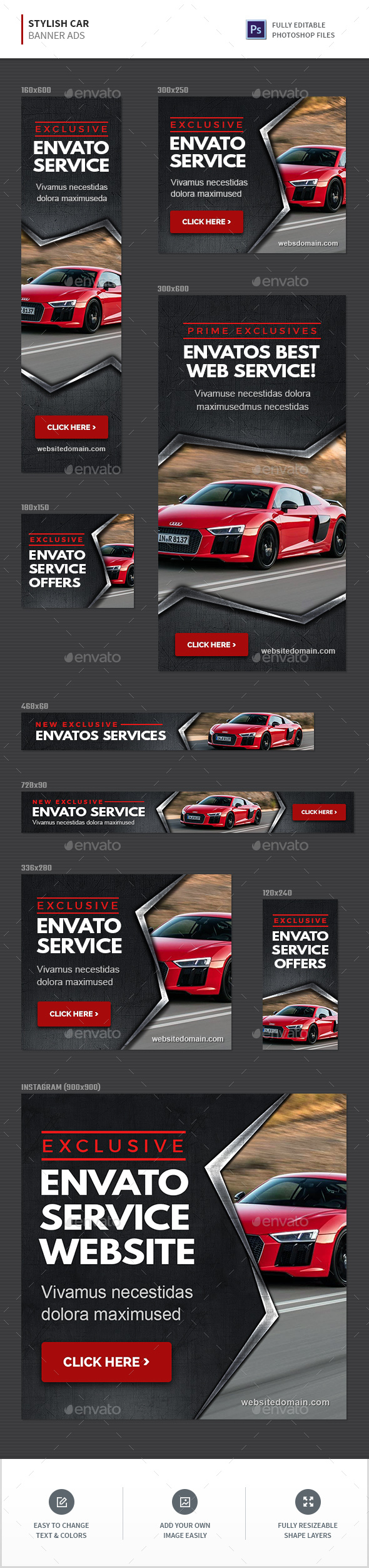 Stylish Car Banners - Banners & Ads Web Elements