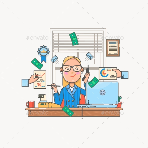 Businesswoman Working and Analyzing Financial - Business Conceptual