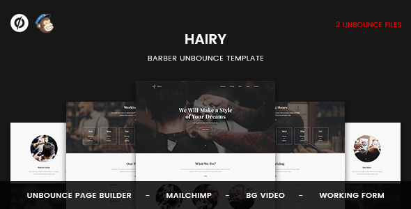 Image of Hairy - Barber Unbounce Template