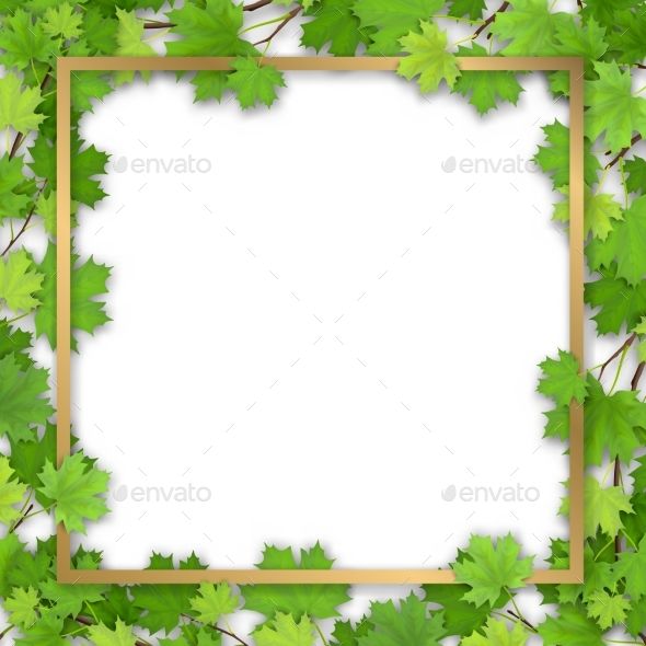 Golden Frame in Maple Foliage - Flowers & Plants Nature