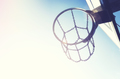 Basketball hoop with chain net at sunset. - PhotoDune Item for Sale