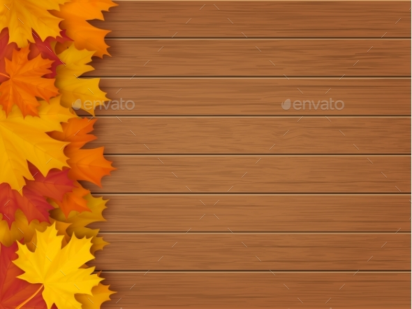 Maple Leaves Wooden Background - Abstract Conceptual