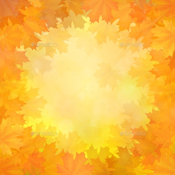 Autumn Background with Frame of Maple Leaves - Backgrounds Decorative