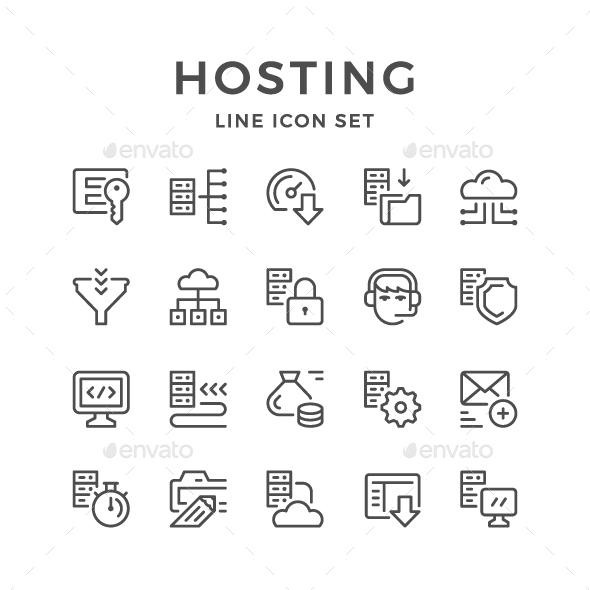 Set Line Icons of Hosting - Web Icons
