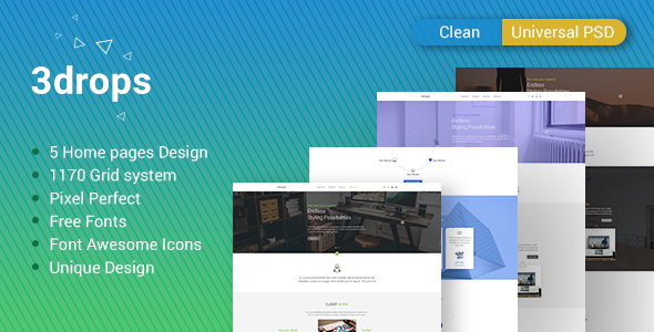 3drops - Clean & Universal PSD Template
