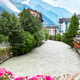 Arve river, buildings of Chamonix and Mont Blanc Massif - PhotoDune Item for Sale