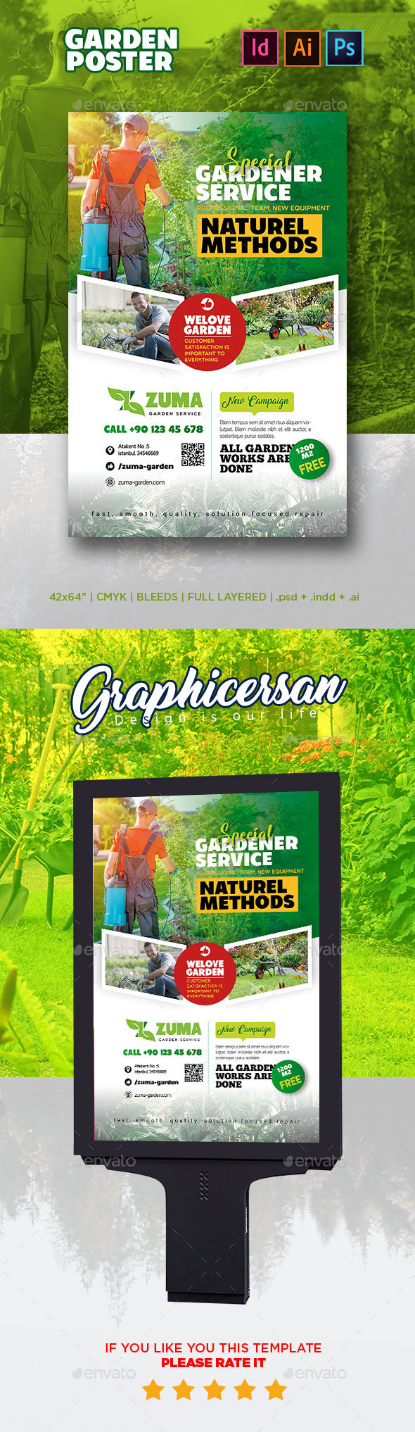 Garden Poster Template - Signage Print Templates