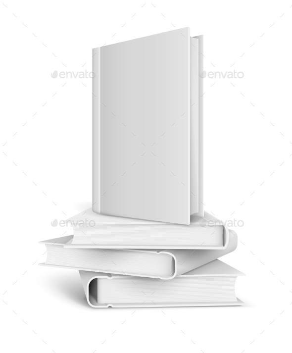 Book Template with Blank White Cover and Pile of Books - Vectors