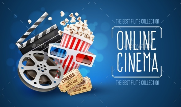Online Cinema Art Movie Watching with Popcorn - Vectors