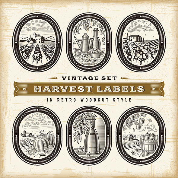 Vintage Harvest Labels Set - Food Objects