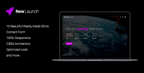 New Launch - Responsive Coming Soon Page HTML - Under Construction Specialty Pages