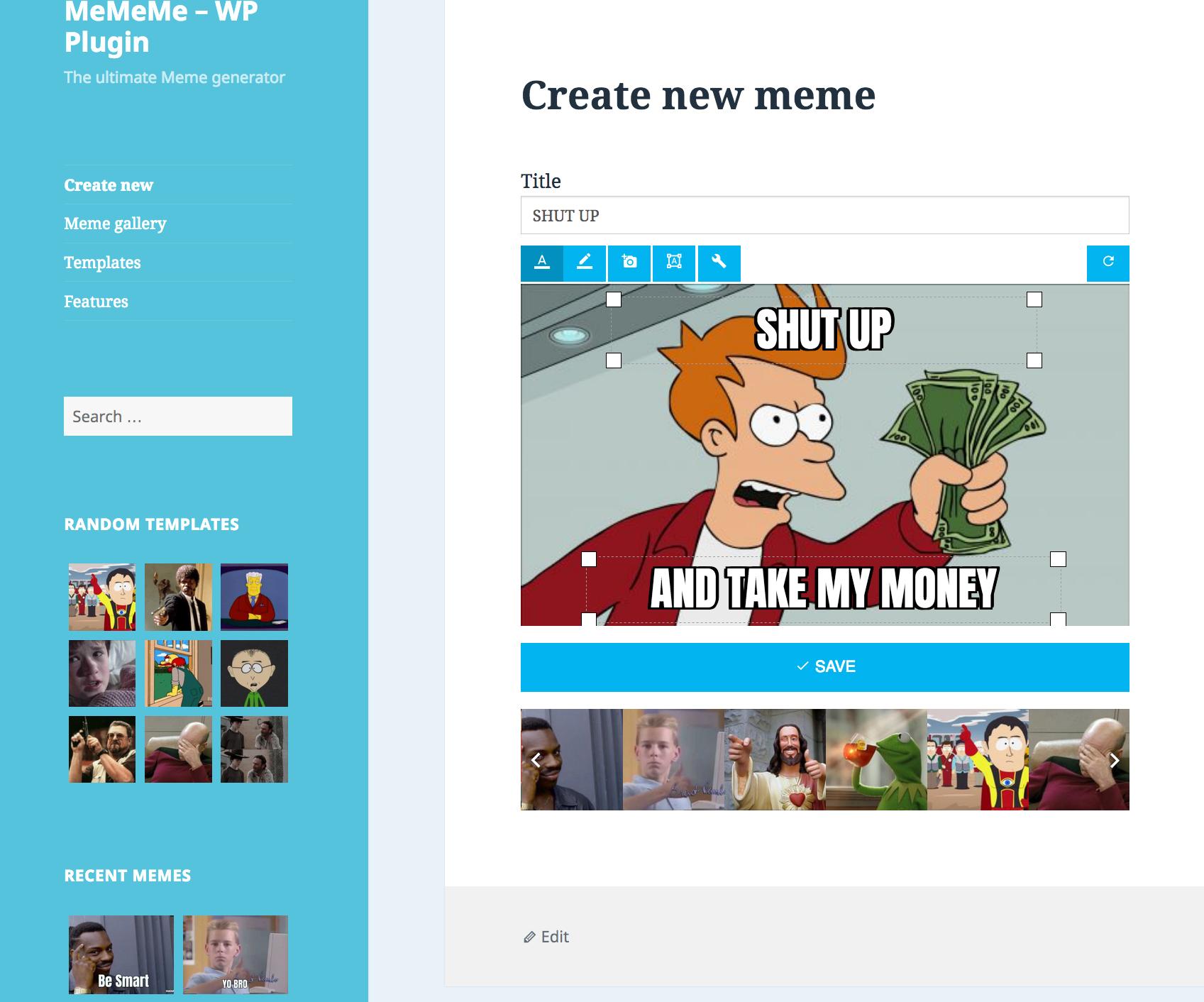 MeMeMe - Ultimate Meme Generator | WP Plugin
