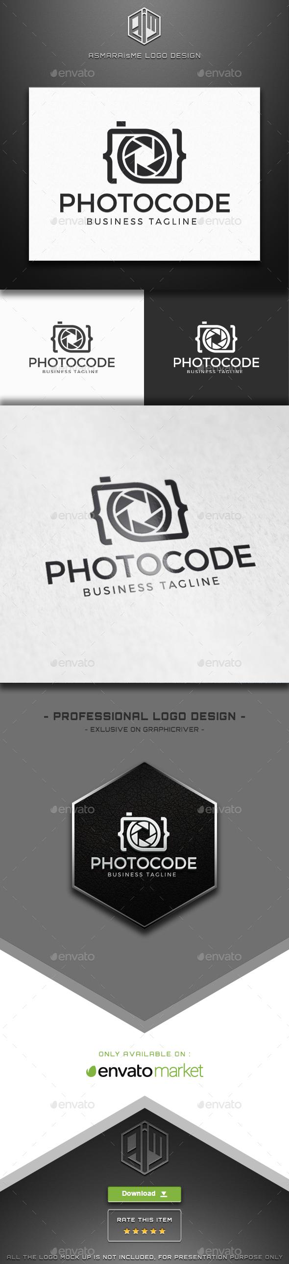 Photo Code  - Camera Logo - Symbols Logo Templates