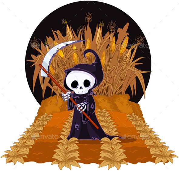 Grim Reaper on Corn Maze - Halloween Seasons/Holidays