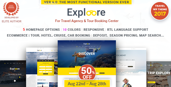 Tour Booking Travel WordPress Theme | EXPLOORE Travel - Travel Retail