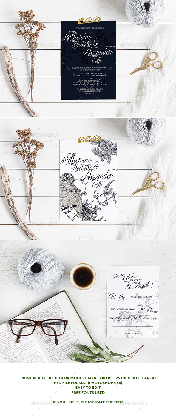 Birdy Wedding Invitation & Rsvp