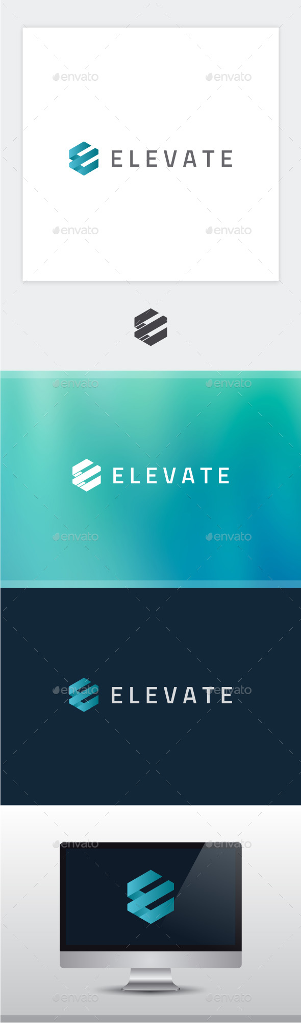 Elevate - Letter E Logo - 3d Abstract
