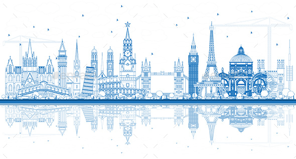 Outline Famous Landmarks in Europe with Reflections - Buildings Objects