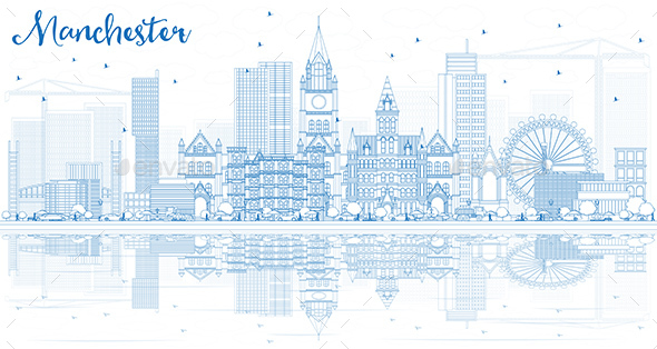 university of manchester powerpoint template - outline manchester skyline with blue buildings and