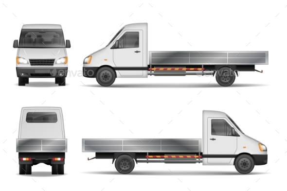 Cargo Van Vector Illustration Isolated on White - Man-made Objects Objects