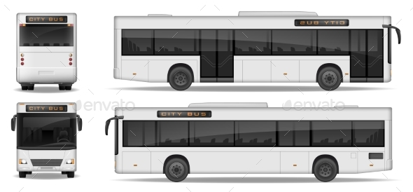 Realistic City Bus Template Isolated on White