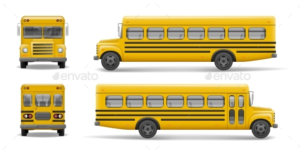 Yellow School Bus Front, Back and Side View